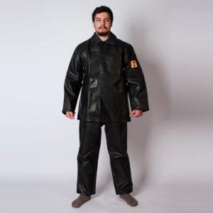 Костюм сварщика кожаный с дополнительными усилительными накладками из кожи с брюками